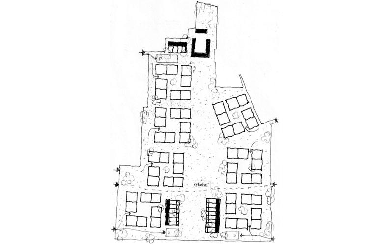 Alternativt bebyggelsesprincip og plantegning