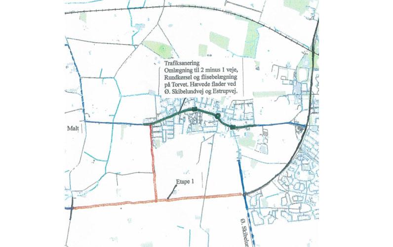 Forslag til linjeføring af omfartsvej